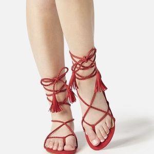 NWOT Fashion Nova Red Tie-up Sandals